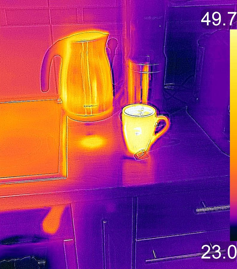 Home infrared thermal imaging - cup and kettle thermal reading