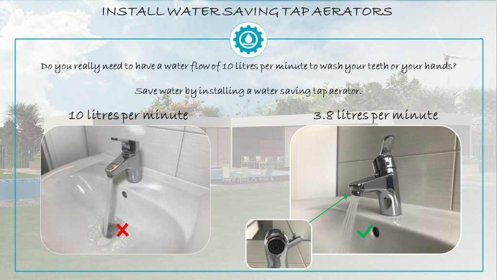Water saving tap aerator bathroom
