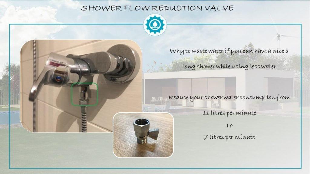 Shower water flow reduction valve