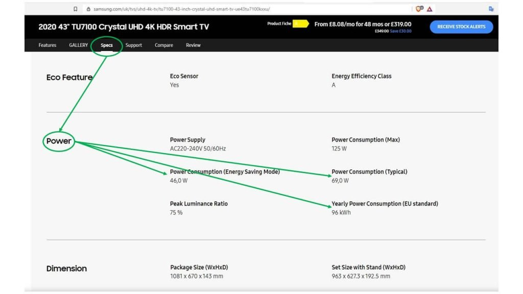 TV power consumption specifications